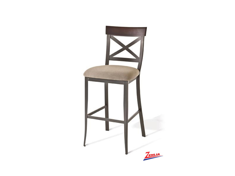 Style  40-224 Metal Fabric Non Swivel Stool