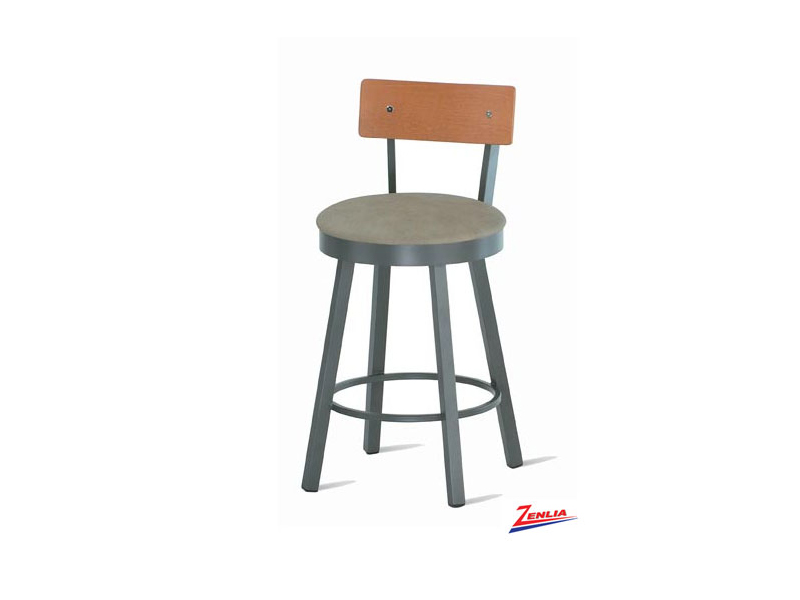 Laur Swivel Stool Wood Back