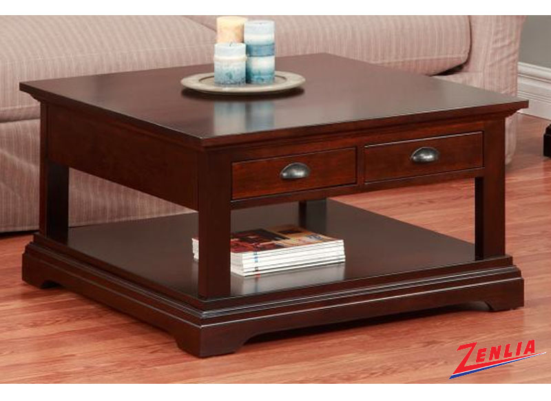 Mars 35 Square Coffee Table With 2 Drawers Coffee Tables Occasional Tables Solid Wood