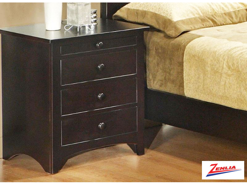 Shak Three Drawer W/pullout Shelf Night Stand