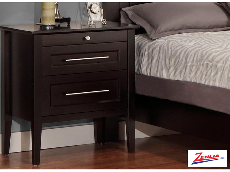 Stock Two Drawer Night Stand W/pullout Shelf