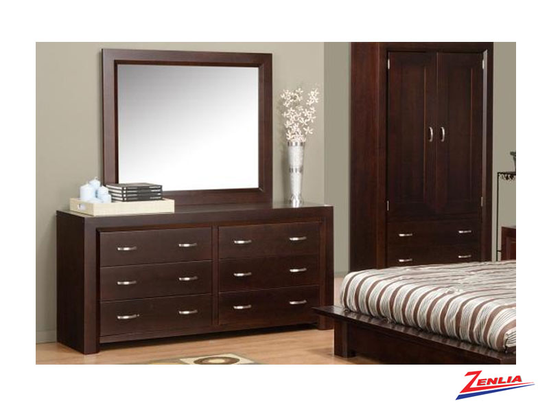 Cont 6 Drawer Dresser & Mirror