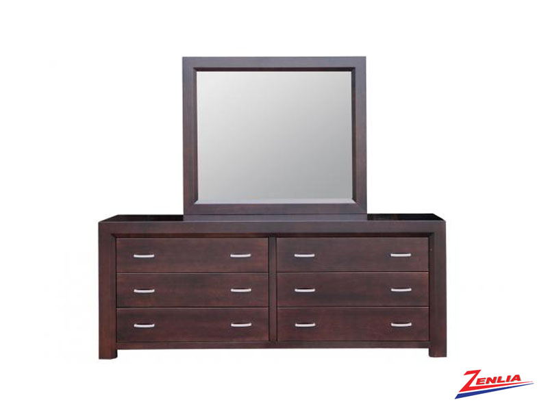 Cont 6 Drawer Long Dresser & Mirror