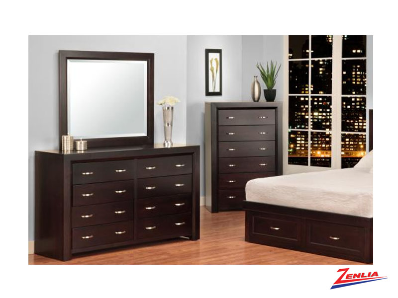 Cont 8 Drawer Dresser & Mirror