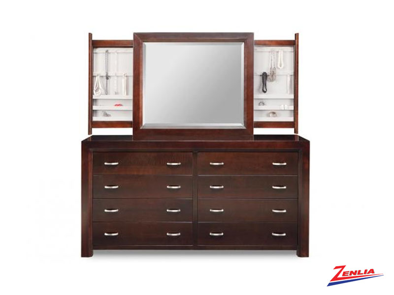Cont 8 Drawer Long Dresser With Jewellery Mirror