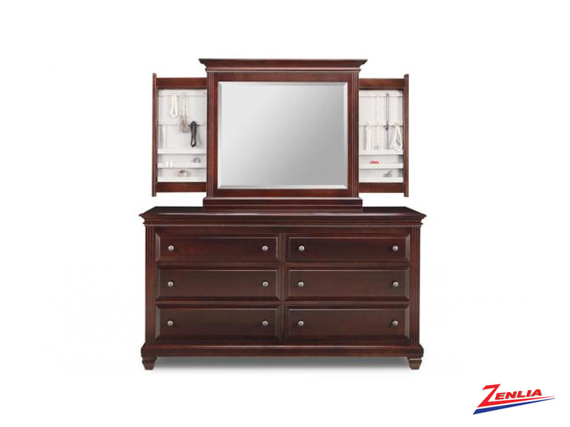 Florent 6 Deep Drawer Long Dresser And Jewelery Mirror