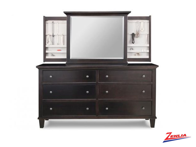 George 6 Deep Drawer Long Dresser &  Jewelery Mirror
