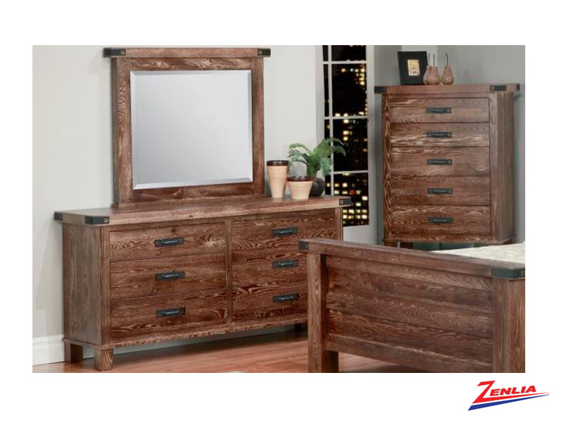 Hammer 6 Drawer Long Dresser & Mirror