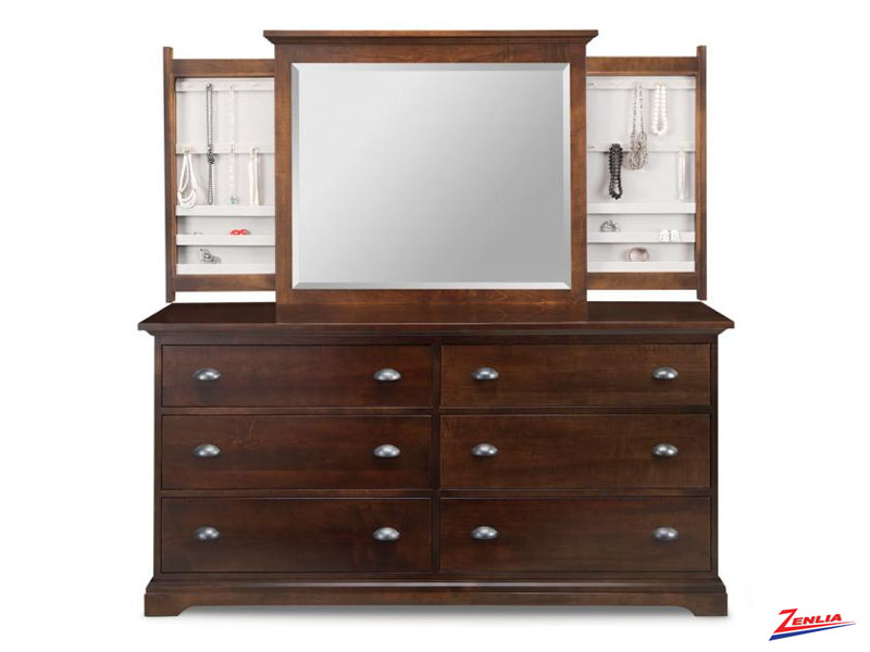 Mars 6 Deep Drawer Long Dresser &  Mirror