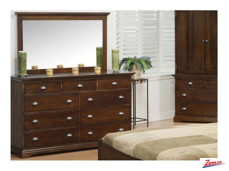 Mars 9 Drawer Double Dresser & Landscape Mirror