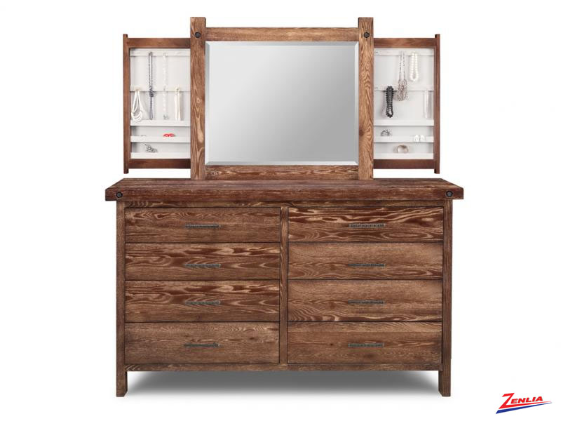 Raft 8 Drawer Long Dresser & Mirror