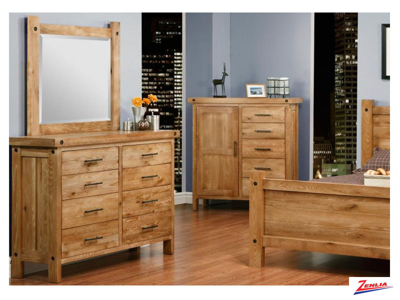 Raft 8 Drawer High Dresser And Mirror