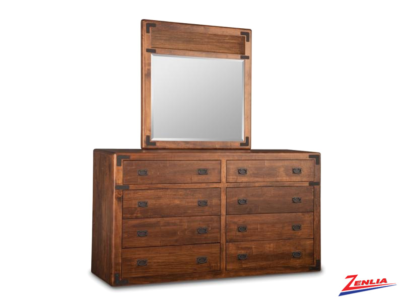 Sara 8 Drawer Long Dresser & Mirror