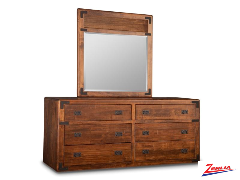 Sara 6 Drawer Long Dresser & Mirror