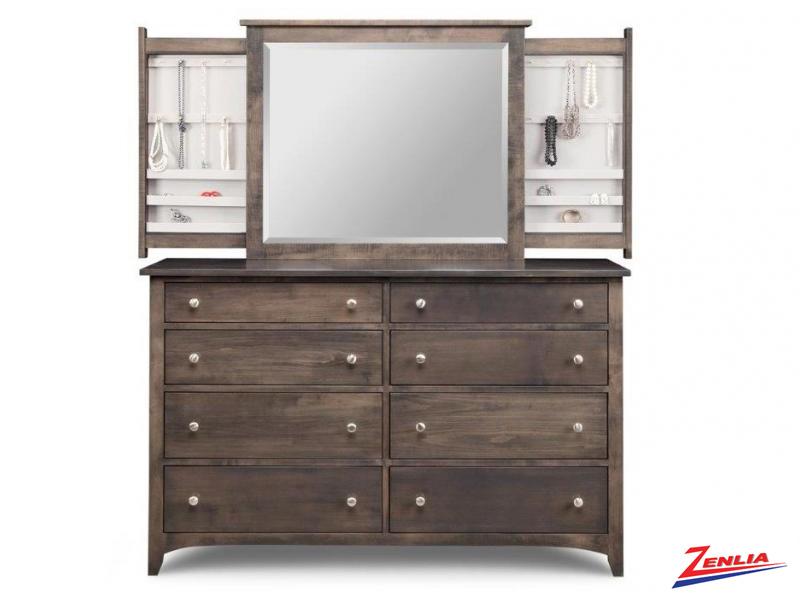 Shak 8 Deep Drawer Dresser &  Jewelery Mirror