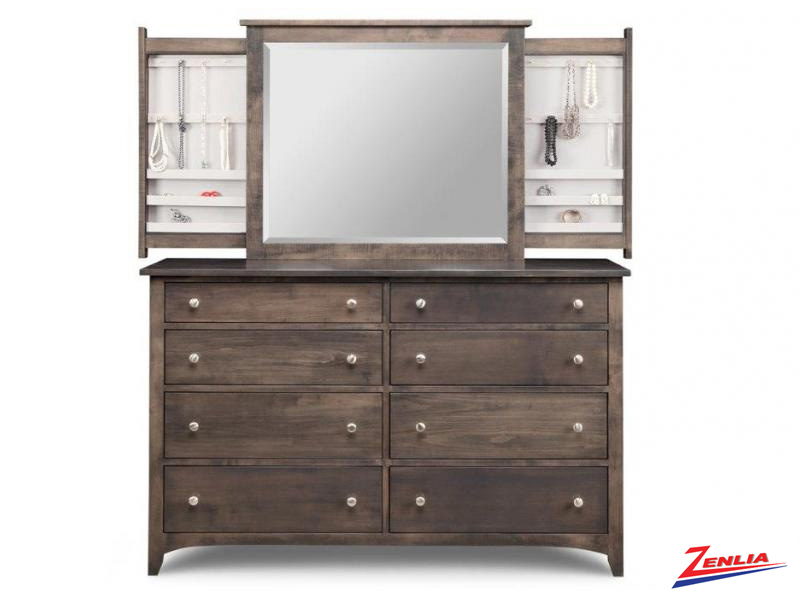 Shak 8 Deep Drawer Dresser And  Jewelery Mirror