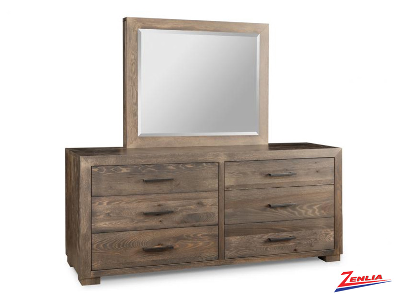 Steel 6 Drawer Long Dresser & Mirror