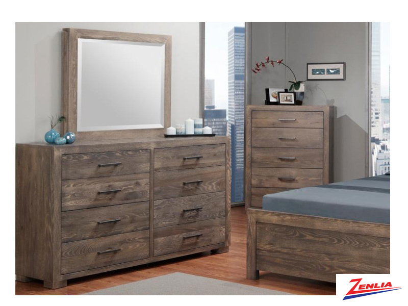 Steel 8 Drawer Long Dresser And Mirror