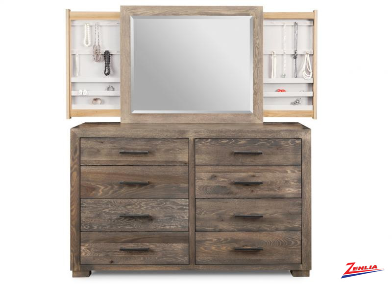 Steel With 8 Drawer Dresser &  Mirror