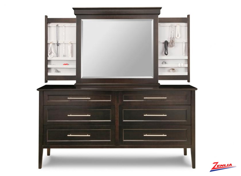 Stock 6 Deep Long Drawer Dresser & Mirror