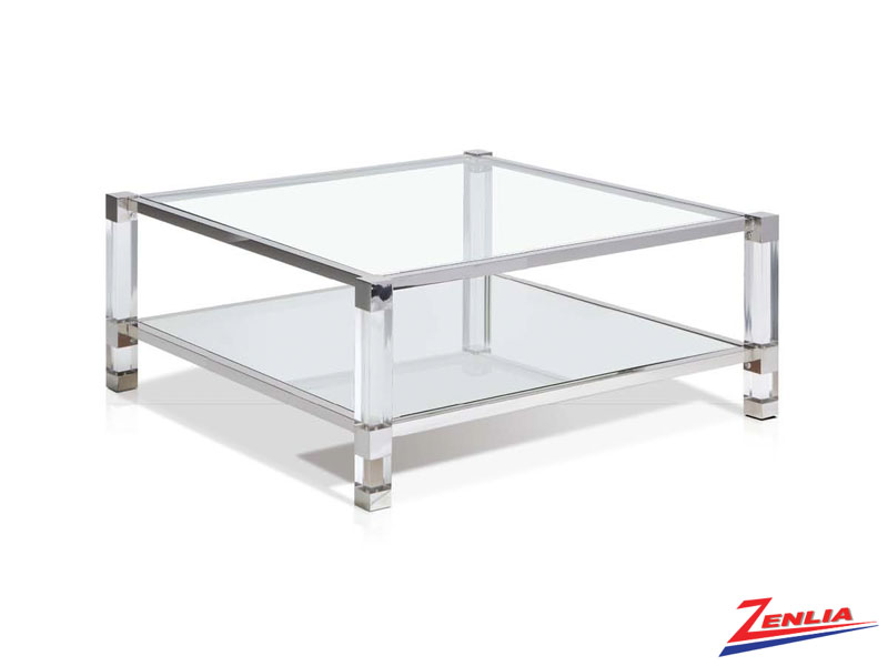 Yve Small Square Coffee Table With Shelf