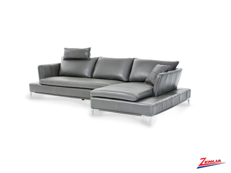 Laz Leather Sectional With Adjustable Headrests