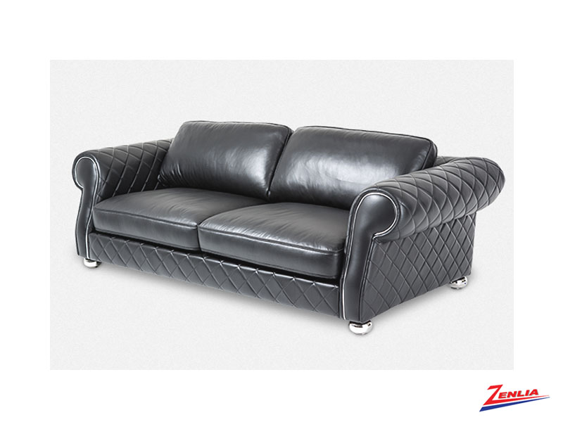 Luga Black Leather Sofa Collection