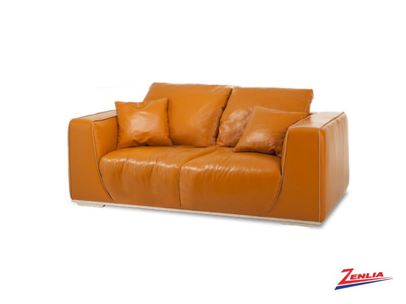 Soph Tangerine Leather Sofa Collection