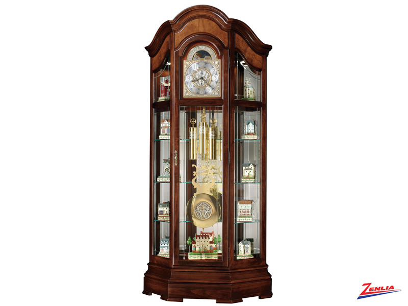 Majest 2 Cherry Finish Floor Clock Curio