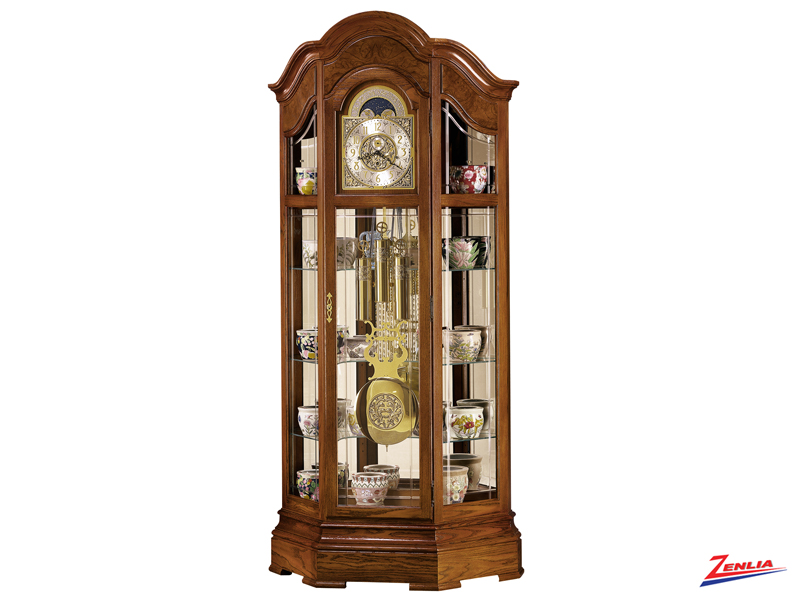 Majest Oak Finish Curio Floor Clock