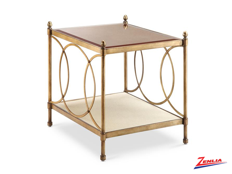 Tre Brushed Bronze End Table