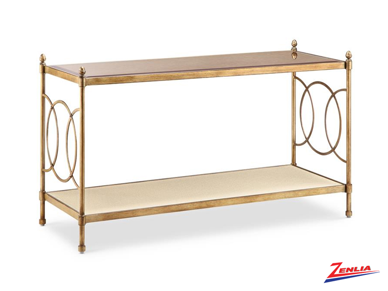 Tre Brushed Bronze Console Table