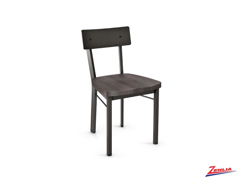 Laur Wood Seat Chair Metal Back