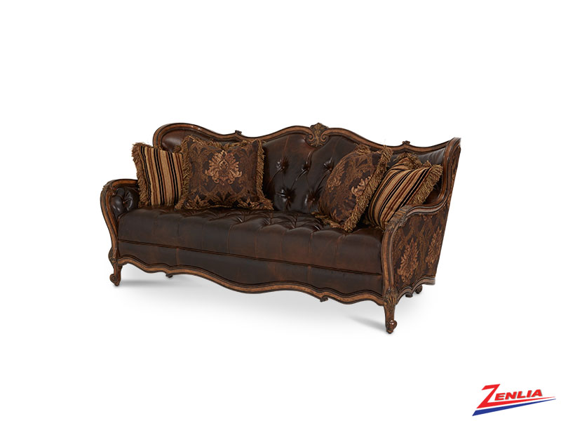 Lave Melan Leather/ Fabric Tufted Sofa