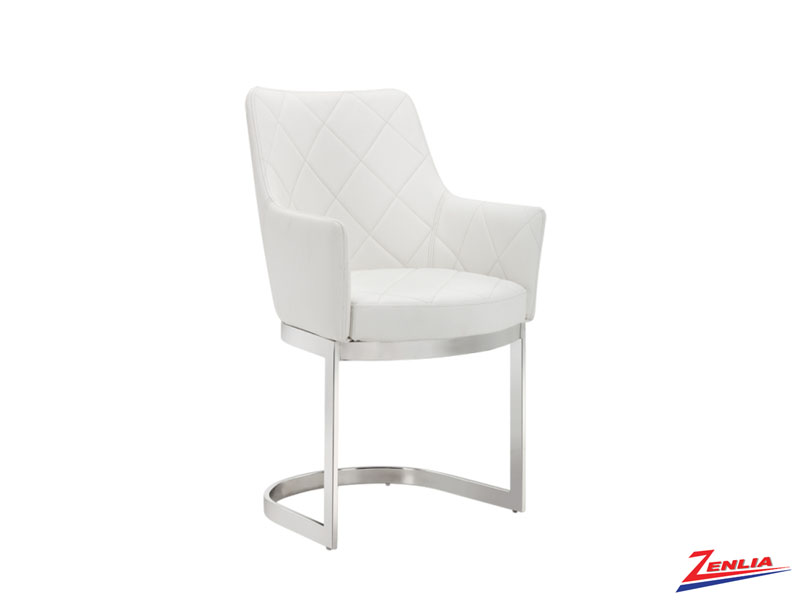 Chas Cantilever White Dining Chair