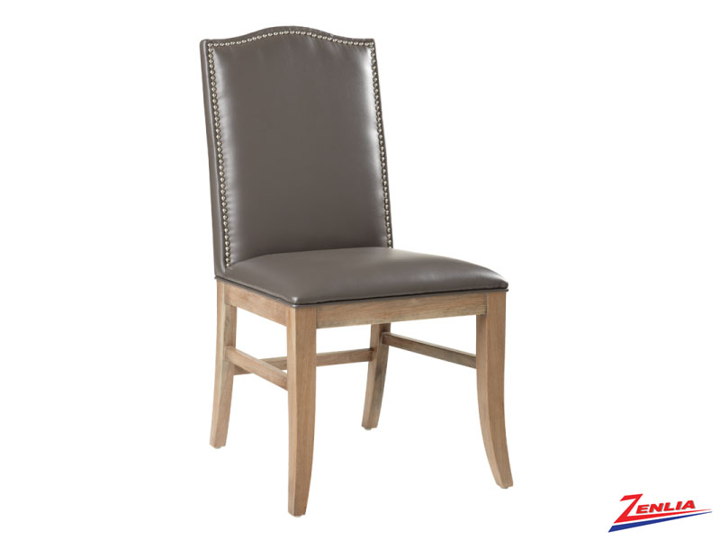 Mais Grey Leather Dining Chair Reclaimed Leg