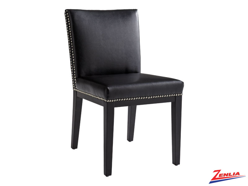 Vint Black Leather Dining Chair