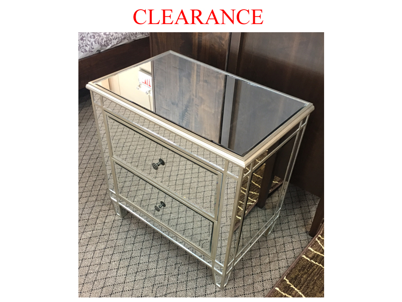 Clearance 2 Drawer Mirrored Nightstand