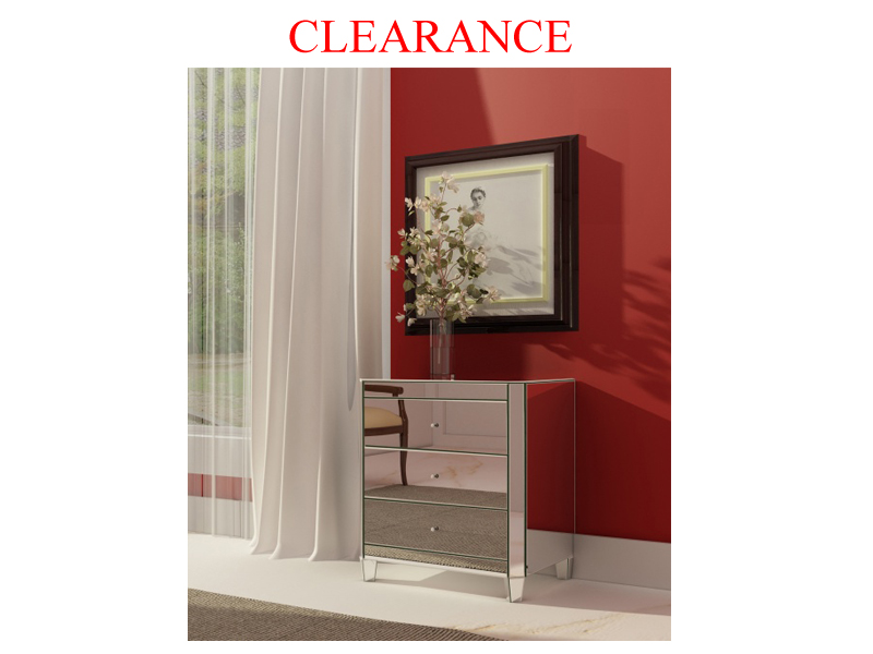 Clearance 3 Drawer Mirrored Night Table