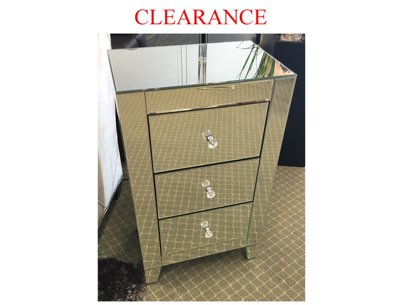 Clearance 3 Drawer Small Mirrored Night Table