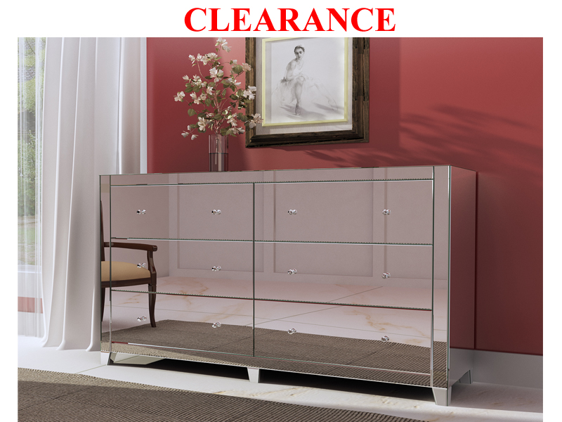 Clearance Mirrored 6 Drawer Dresser : Dressers : Mirrored Furniture : Zenlia Home Store