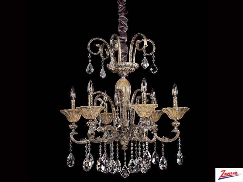 Legre 6 Light Chandelier With Antique Silver Leaf