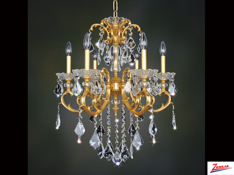 Prae 6 Light Chandelier With French Gold 24/k