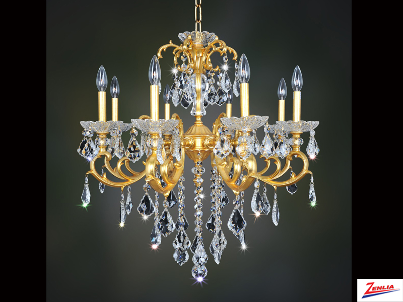 Prae 8 Light Chandelier With French Gold 24/k