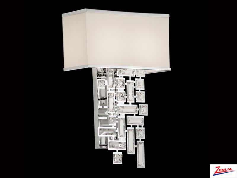 Verm 2 Light Wall Bracket W/off White And Chrome Shade