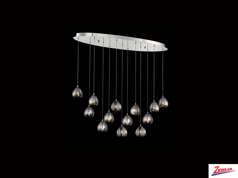 Luci 13 Light Oval Chandelier Smoke