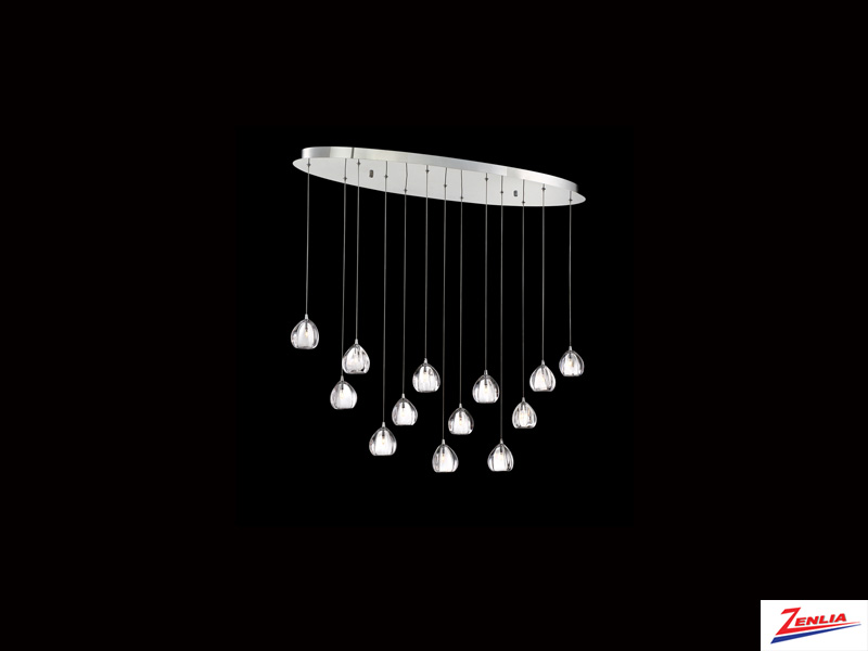 Luci 13 Light Oval Chandelier Clear