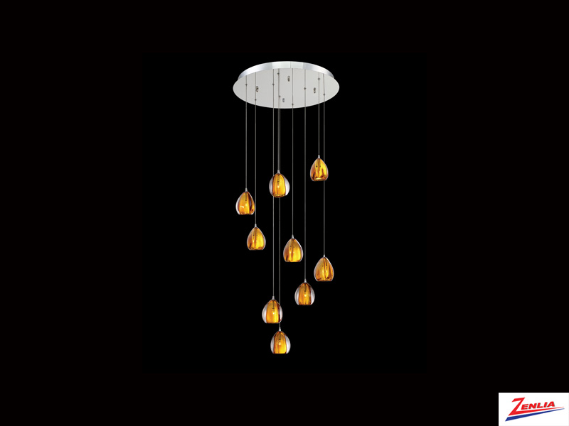 Luci 9 Light Round Chandelier Amber