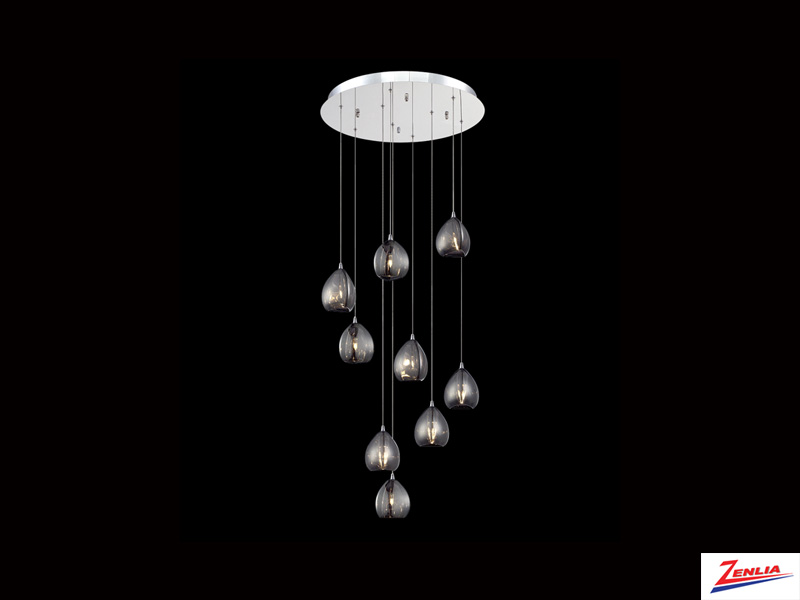 Luci 9 Light Round Chandelier Smoke