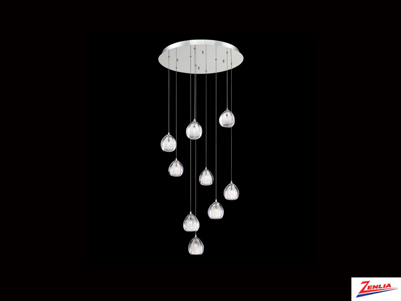 Luci 9 Light Round Chandelier Clear
